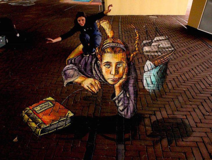 Как одна библиотекарша разрисовала тротуары библиотекарша, рисунок, тротуары