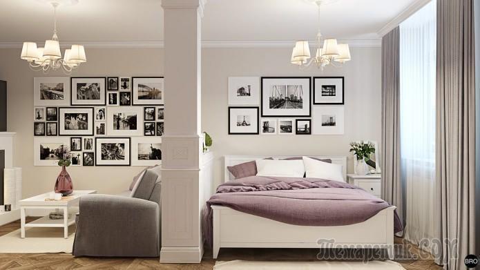 Дизайн однокомнатной квартиры с спальней: проект в Киеве