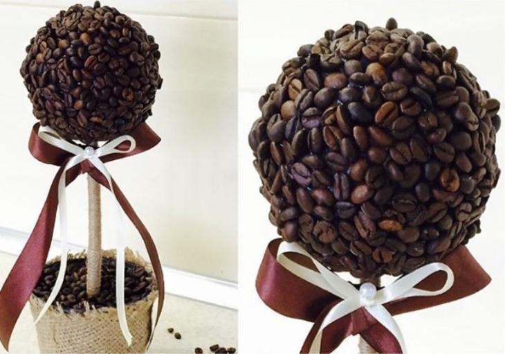 Топиарий из кофе - готовое изделие