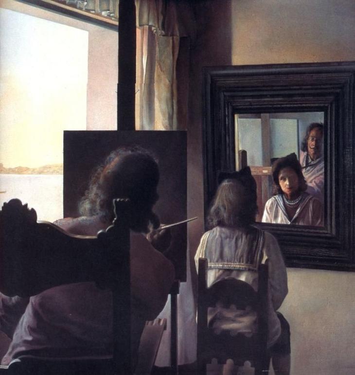 Дали, повернувшись спиною, пишет портрет Галы, повернувшейся спиною и увековеченной шестью виртуальными роговищами, временно отраженными в шести зеркалах. Сальвадор Дали, 1973