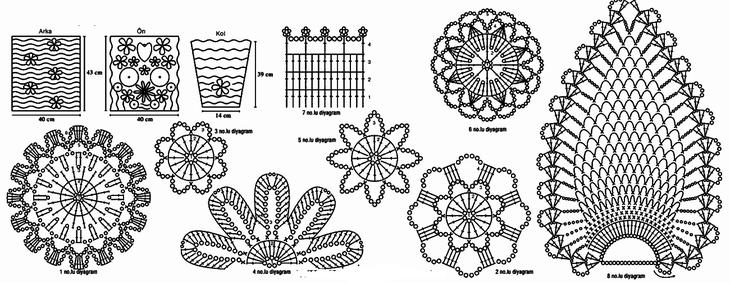 Схемы элементов ирландского кружева, связанных крючком, вариант 1