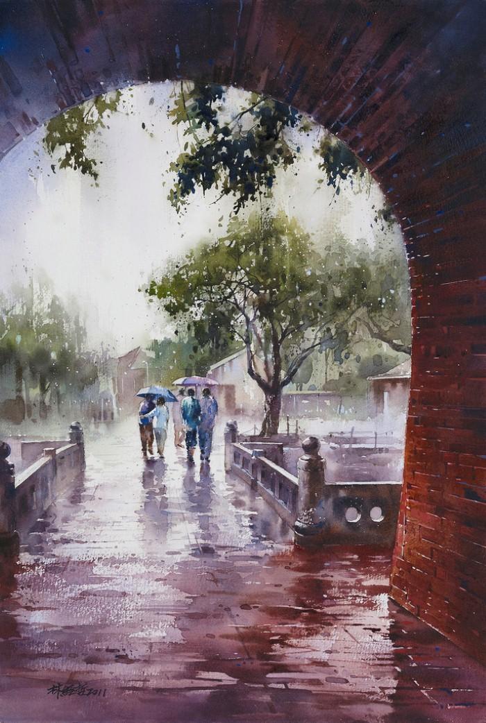 """Музыка дождя... Она прекрасна!"" Акварели тайваньского художника Лин Чинг Че (Lin Ching-Che)"