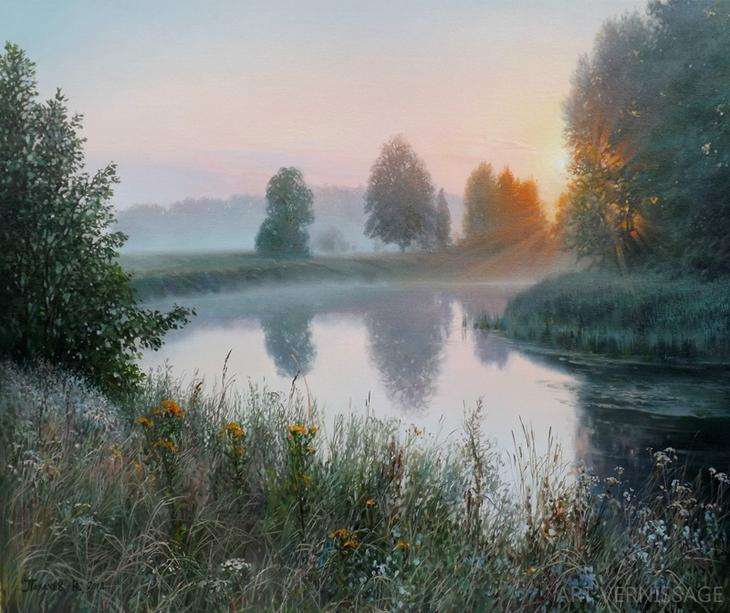 Раннее утро у реки - пейÐаж Ð'.Ð.Палачева