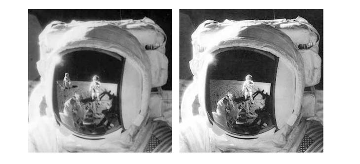 На фото слева добавлен Алан Бин («Аполлон-12»), устанавливающий на лунной поверхности магнитометр /© NАSА