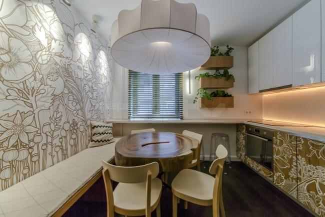 Кухня в фермерском стиле с авторской росписью фасадов