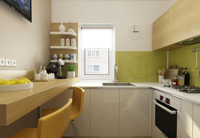 Маленькая кухня с простым дизайном